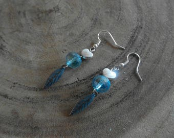 Glass bead with hearts earring and charm feather