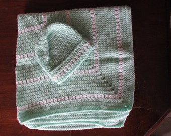 Crochet Baby Blanket with Matching Hat -  White & Green