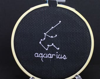 Aquarius star cross stitch