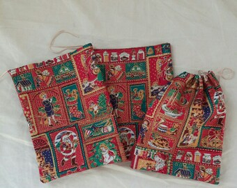 Christmas fabric gift bag pouch