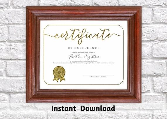 Certificate Template Printable Award Certificate Simple