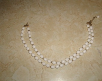 vintage necklace double strand white lucite beads goldtone monet