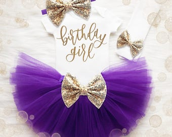 Birthday Girl 1st Birthday Outfit   Purple And Gold 1st Birthday Girl Outfit   First Birthday Shirt   Birthday Tutu Set   First Birthday