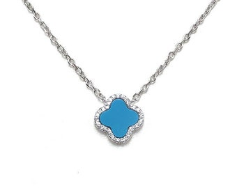 CZ Sterling Silver Rhodium Plated Turquoise Clover Necklace - Designer Style -turquoise clover pendant Encased with CZs