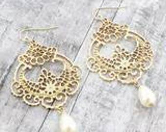Worn Gold tone and Pearl filigree chandelier earrings