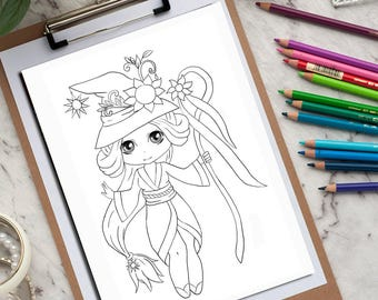 Anime Girl Digital stamp kids coloring page Kids Printable Coloring Page Instant Download Printable digi stamps anime chibi anime stickers