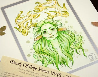 Odine Before - MarchOfTheFauns 2018 Limited Edition Double Matted Faun Print with Story Scroll
