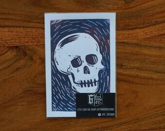 Skull Lino Print