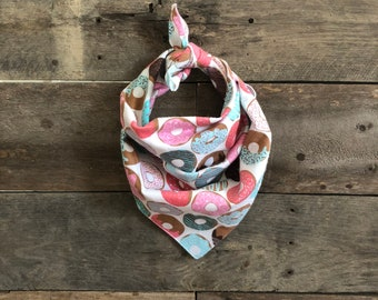 Fun Bright Pastel Donuts Tie On Dog Bandana