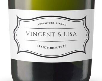 Simple Wedding Mini Champagne Label, Custom Mini Champagne Label, Mini Champagne Wedding Labels, Mini Champagne Labels for Wedding #MN6