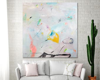ABSTRACT PAINTING, Large Canvas art Dusty pink with green 36x36 whimsical Colorful Modern painting by Duealberi