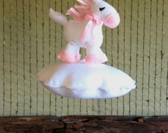Nursery Baby Horse Mobile, Nursery Pony Crib Mobile, Pink White Cloud  Decor, Baby Shower Gift  Neutral Hanging Mobile, Baby Girl Boy Gift