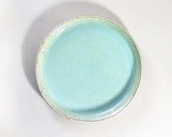 Stoneware Hand-thrown dinner plates. speckled Mint Green. Speckled White. Speckled Turquoise. Made to order.