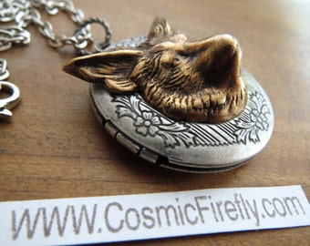 Fox Locket Necklace Brass Fox Necklace Gothic Victorian Style Vintage Inspired Woodland Jewelry Mixed Metals