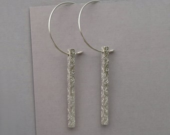 Square Bar Earring, long sterling dangle, simple delicate pattern, floral texture, classic, organic texture, geometric, minimal drop earring