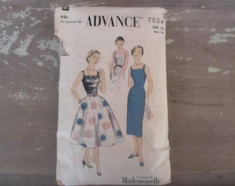 Vintage Advance 7034 Printed Sewing Pattern 1955 Womens Size 16 Dress Pattern