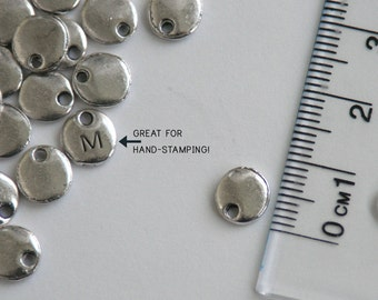 Tiny antiqued silver Stamping Blank. 8mm. Round rustic organic look tag. So cute! Personalized hand-stamped jewelry, initial charms (CL-1a)