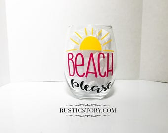 Beach please - summer wine glass