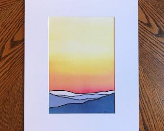 PRINT-- Bright yellow sunrise, Blue mountains