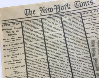 The New York Times Saturday,April 15,1865 Historic Newspaper Memorabilia