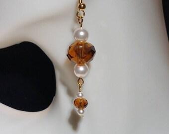 Brown Crystal and Swarovski Pearl Earrings