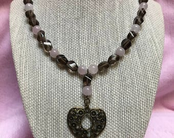 Heart necklace with rose and smoky quartz
