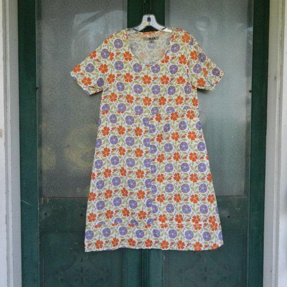 FLAX Engelheart Short-Sleeve Floral Linen Dress -S-