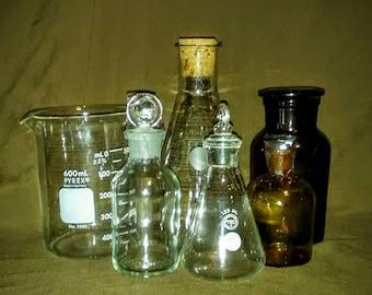Vintage/Antique Apothecary Bottle and Laboratory glass beaker set