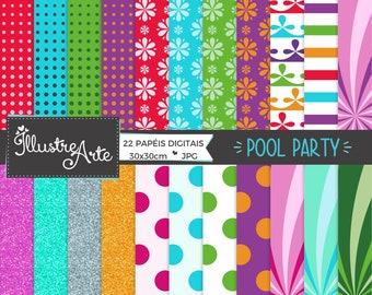 50% OFF - Pool Party Digital Paper