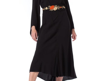 1930s Black Pleated Bell Sleeve Belted Dress with Embroidered Neckline SIZE: M, 6/8