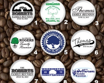25 Family Reunion Personalized Custom Pins or Plastic or Metal Flat back Button Set - Wholesale Pricing