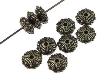 TierraCast OASIS RONDELLE Beads - Antique Brass Beads - Tierra Cast Brass Oxide Bronze Beads - Bali Beads (P1048)