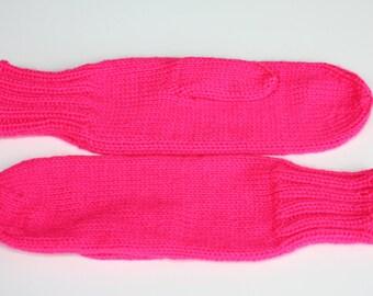 Knit Mittens - Neon Pink Adult Mittens - Womens Knit Mittens - Hot Pink Knitted Mittens - Ladies Mittens - Warm Mittens, Soft Mittens