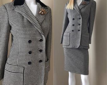 LUBA Saks Fifth Ave 70's Checked Wool Skirt Suit, Black & White Check Wool Jacket w Skirt size xs