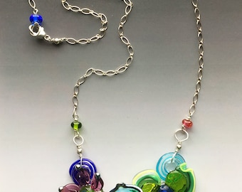Secret Garden Small Necklace: handmade glass lampwork beads with sterling silver components - Multicolor