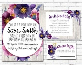 Floral Rustic Baby Shower Invitation Package, Purple, Digital Download