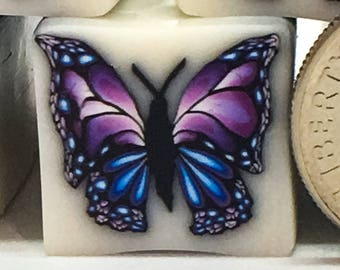 Artisan butterfly polymer clay cane, butterfly cane, purple, SKU #BUTP231