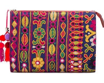 Selena Large Embroidered + Leather Clutch Handbag - Ayesha