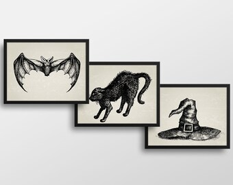 Set of 3 Scary Halloween Prints - Halloween Decor - Art Prints - Halloween Printables - Instant Download - 8x10 in. Bat, Cat and Witch's Hat