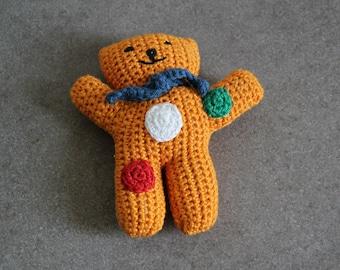 hand crocheted light orange bear