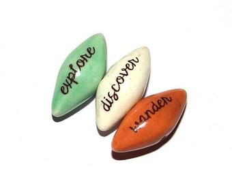 Ceramic Word Bead Set Pointy Beads Handmade Aspiration Message Beads