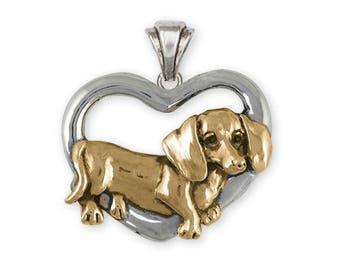 Dachshund Pendant Jewelry Silver And 14k Gold Handmade Dog Pendant DA28-TNP
