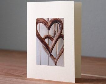 Handmade Hanging Wooden Hearts Photo Card