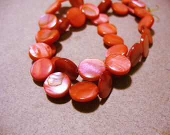 Mother of Pearl Beads Pinkish Red Coin 10MM