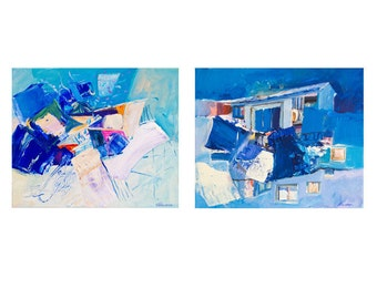 Set of 2 original small abstract paintings, blue square acrylic paintings, pink, white, lemon, navy blue, turquoise 30x25cm (app.11.8x9.8')