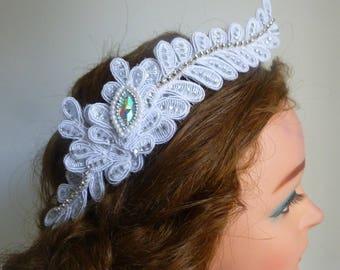 White/Ivory Lace  Bridal Headpiece