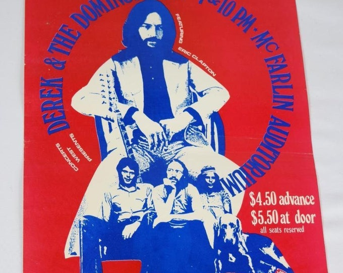 Very Rare Vintage 1970 Derek & the Dominos Poster Handbill Poster Texas Eric Clapton Duane Allman Brothers Layla