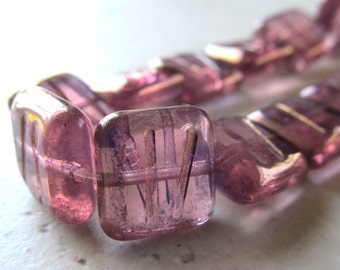 10mm Designer Czech Glass Golden Etched & Dipped Rose Pink Chicklet Bead - 10 Pcs.