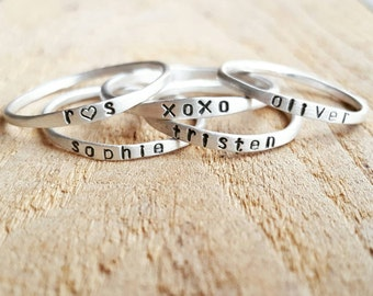 Stackable Name Rings in sterling silver and 14K gold, Personalized Stacking Rings, Custom name rings, Super Skinny gold name rings