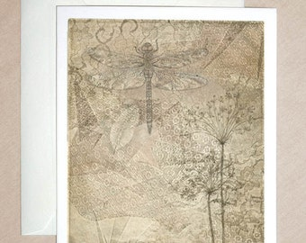 DRAGONFLY & Lace Etching with feather ~ original design, entomology Nature art, wildflowers, queen anne's lace, dragonfly
